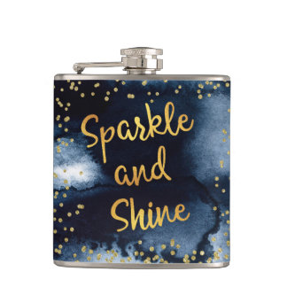 Sparkle And Shine Gold & Watercolor Typography Art Hip Flask