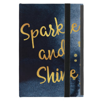 Sparkle And Shine Gold & Watercolor Typography Art iPad Mini Cover