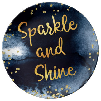 Sparkle And Shine Gold & Watercolor Typography Art Plate