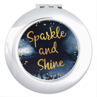 Sparkle And Shine Gold & Watercolor Typography Art Travel Mirrors