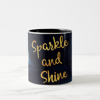 Sparkle And Shine Gold & Watercolor Typography Art Two-Tone Coffee Mug
