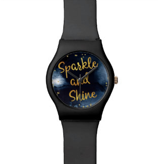 Sparkle And Shine Gold & Watercolor Typography Art Watch