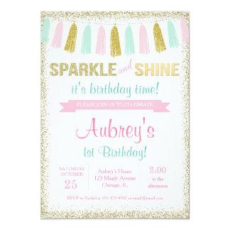 Sparkle and shine pink gold birthday invitation