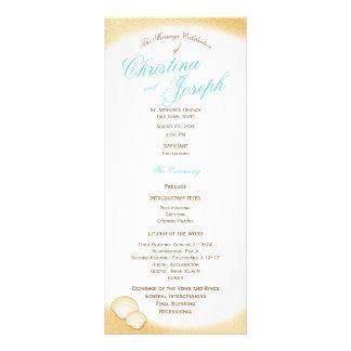 Sparkle Beach Golden Seashell Wedding Program Rack Card