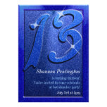 Sparkle Blue 13th Birthday Party Invitations