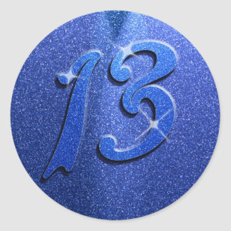 Sparkle Blue 13th Birthday Party Stickers