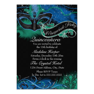 Sparkle Blue & Green Mask Masquerade Quinceanera Card
