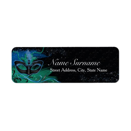 Sparkle Blue & Green Masquerade Address Labels