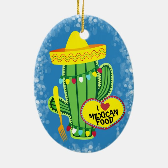 Sparkle cactus Mexican food Christmas ornament