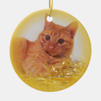 Sparkle Cat Ceramic Ornament