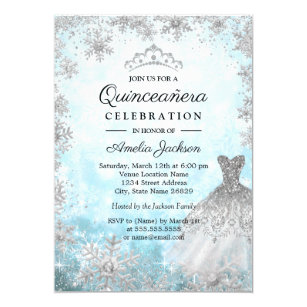 Quinceaera invitations zazzle sparkle dress blue snowflakes winter quinceanera invitation stopboris Choice Image