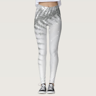 Sparkle Feather Winter Holiday Leggings