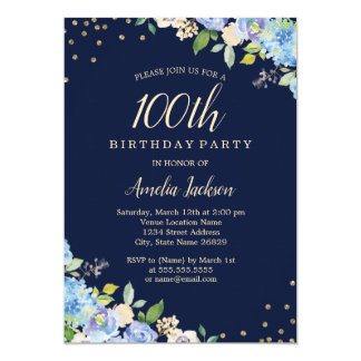 Sparkle Floral Blue 100th Birthday Party Card