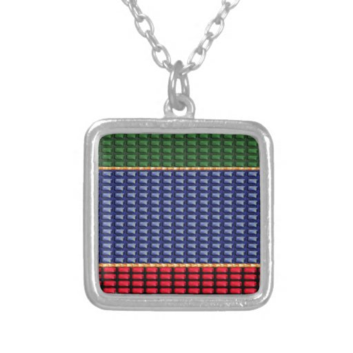 Sparkle Glitter Digital Blue Red Green Button GIFT Necklace