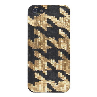 Sparkle Glitter Gold Bling Houndstooth iPhone 5/5S Cover