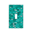 Sparkle Glitter Green Aqua Mermaid Scales Light Switch Cover