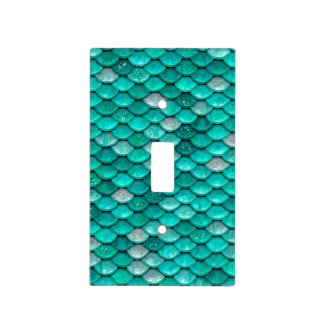 Sparkle Glitter Green Aqua Mermaid Scales Light Switch Cover