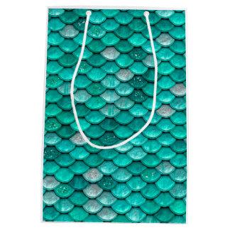 Sparkle Glitter Green Aqua Mermaid Scales Medium Gift Bag