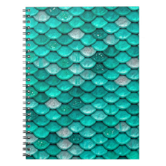 Sparkle Glitter Green Aqua Mermaid Scales Notebooks