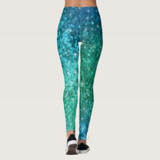 Sparkle Glitter Mermaid Leggings - blue green