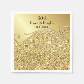 Sparkle Gold 50th Wedding Anniversary Disposable Napkin