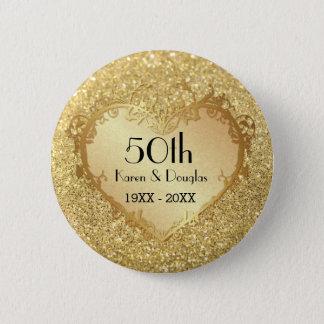 Sparkle Gold Heart 50th Wedding Anniversary 2 Inch Round Button