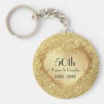 Sparkle Gold Heart 50th Wedding Anniversary Basic Round Button Keychain