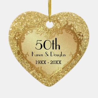 Sparkle Gold Heart 50th Wedding Anniversary Ceramic Heart Ornament