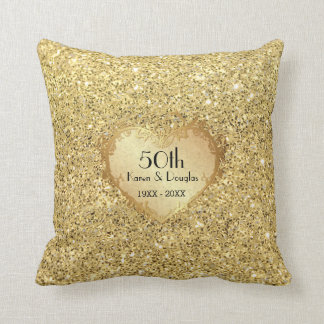 Sparkle Gold Heart 50th Wedding Anniversary Throw Pillow