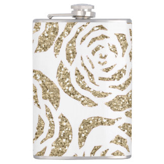 Sparkle Gold Roses on White Flask 8oz Flask