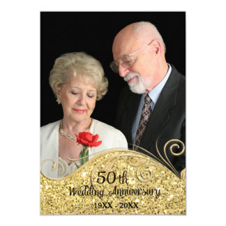 Sparkle Golden 50th Wedding Anniversary Card