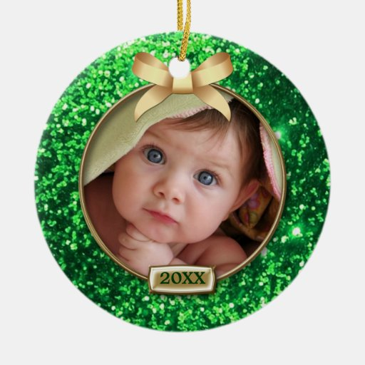 Sparkle Green/Gold Bow Photo Christmas Tree Ornaments