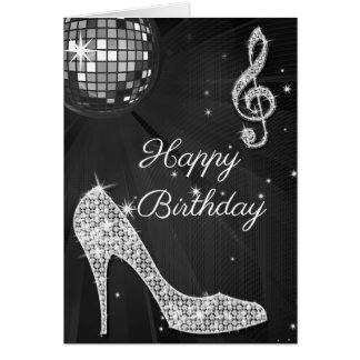 Sparkle Heels Black & Silver Disco Ball Card