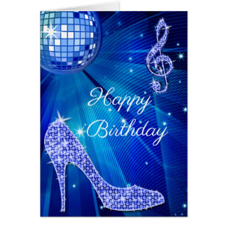 Sparkle Heels Blue Disco Ball Card