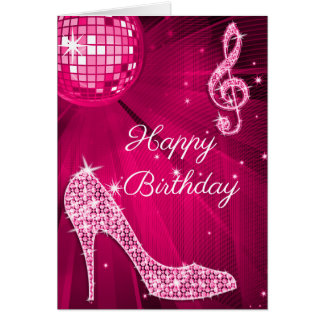 Sparkle Heels Hot Pink Disco Ball Card
