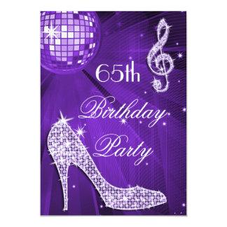 "Sparkle Heels Purple Disco Ball 65th Birthday 5"" X 7"" Invitation Card"