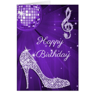 Sparkle Heels Purple Disco Ball Card