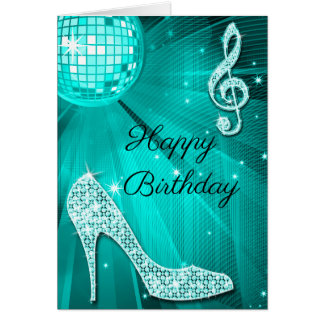 Sparkle Heels Teal Disco Ball Card