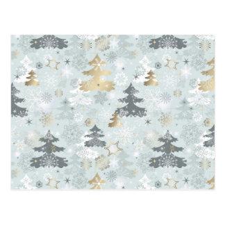 Sparkle Holiday Christmas Tree Snowflake Pattern Postcard