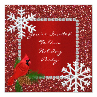 """SPARKLE Holiday Invitation with SNOWFLAKES 5.25"""" Square Invitation Card"""