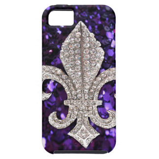 Sparkle jewel Fleur De Lis Sequins Purple iPhone 5 Cover