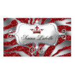 Sparkle Jewellery Business Card Zebra Crown Red 2