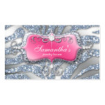 Sparkle Jewellery Business Card Zebra Pink Silver