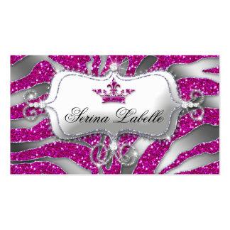 Sparkle Jewelry Business Card Zebra Crown Hot Pink