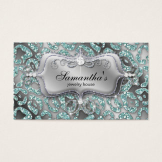 Sparkle Jewelry Business Card Zebra Teal Silver