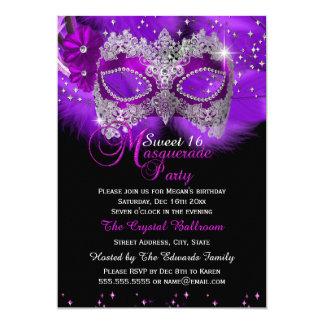 "Sparkle Lace Mask Purple Masquerade Sweet 16 5"" X 7"" Invitation Card"