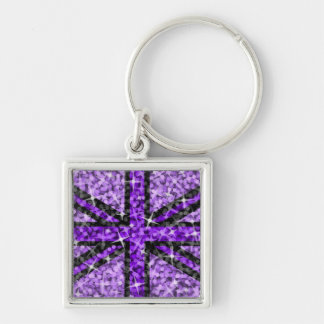 Sparkle Look UK Purple Black keychain square