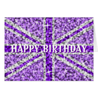 Sparkle Look UK Purple 'Happy Birthday' front text Card
