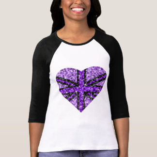 Sparkle Look UK Purple Heart Black 3/4 sleeve T-Shirt