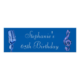 Sparkle Music Note and Retro Microphone Birthday Posters